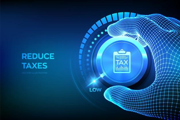 Кнопка регулятора уровня tax. налоговая оптимизация бизнеса финансовая концепция. каркасная ручная установка кнопки налог в нижнем положении.