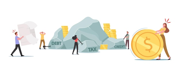 Taxation heavy burden, loan payment concept. tired business characters carry huge stones, paper form and coin. bank debt, mortgage debentures and business problems. cartoon people vector illustration