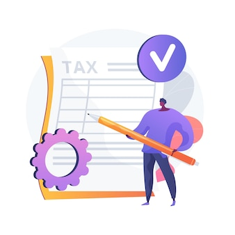 Taxes calculation. financial management. achieving success. completed labour, noted obligation, executed task. responsible man ticking list with pencil. vector isolated concept metaphor illustration.