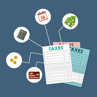 Taxes concept with icon design