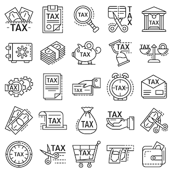 Taxes icon set. outline set of taxes vector icons