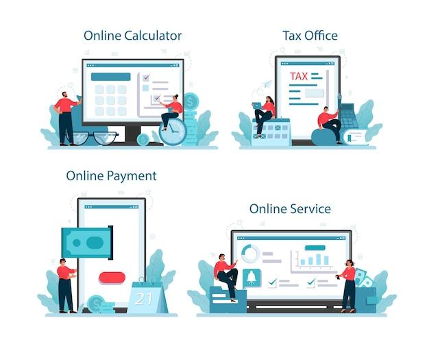 Taxes payment online service or platform set.