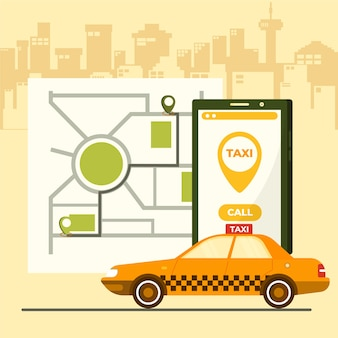 Taxi app concept on mobile