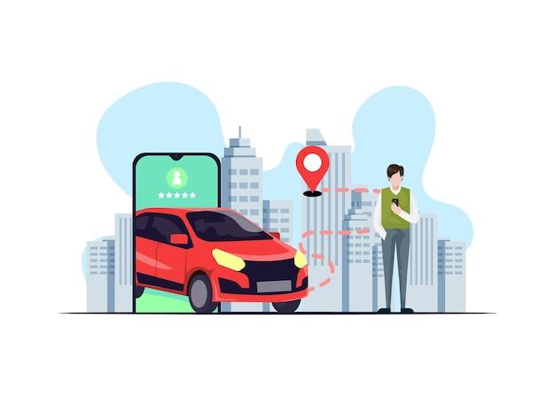 Концепция приложения такси с иллюстрациями