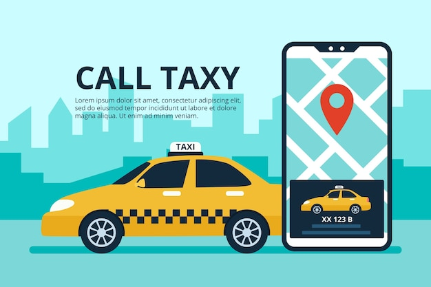 Taxi app concept with phone interface