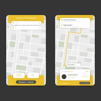 Taxi app interface concept