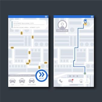 タクシーアプリのインターフェースの概念
