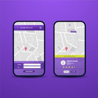 Taxi app interface concept