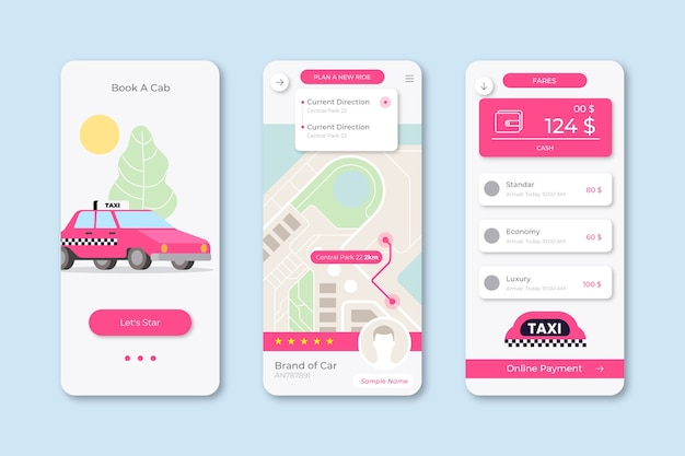 Interfaccia dell'app taxi illustrata