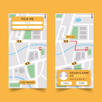 Taxi app interface versions