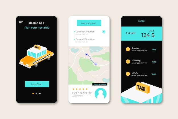 Taxi app interfaces pack