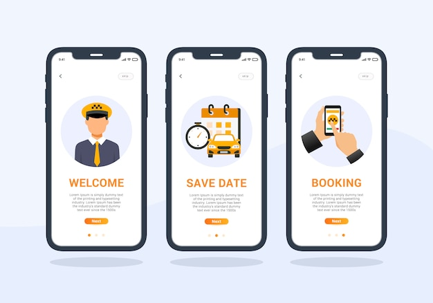 Taxi app set of onboarding screen mobile ui design