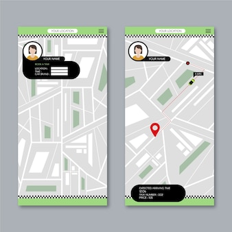 Taxi app user interface with map
