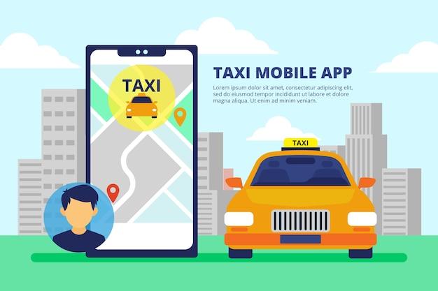 전화 인터페이스가있는 택시 앱 무료 벡터