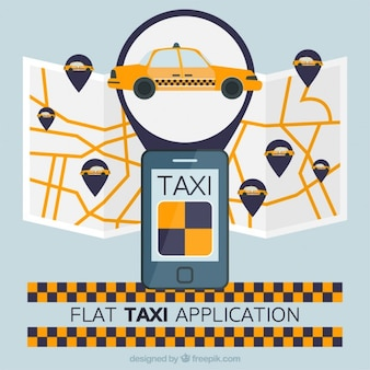 Taxi application with map in flat design