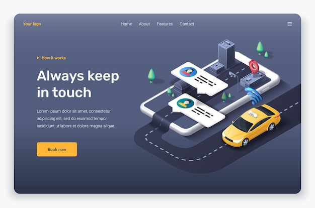 Taxi application with profile, payment methods, location pin and map. landing page template.