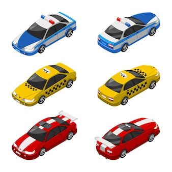 Taxi auto, police vehicle and racing car 3d isometrics   illustration