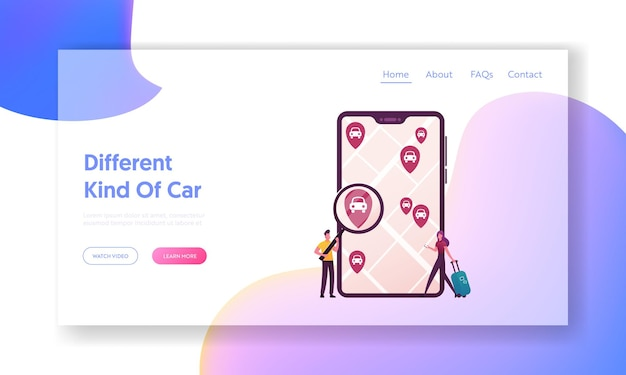 Taxi, automobile rental and share using mobile app landing page template