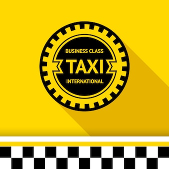 Taxi badge isolated on yellow