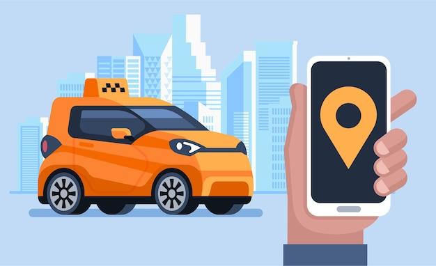 Баннер такси. онлайн мобильное приложение заказа такси. человек вызывает такси с помощью смартфона. горизонтальная иллюстрация.