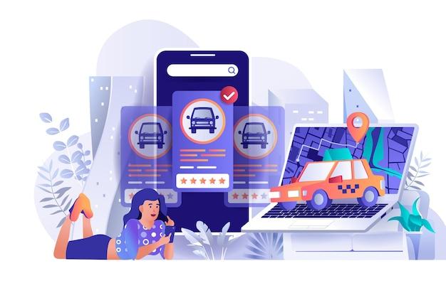 사람들이 문자의 평면 디자인 컨셉 일러스트를 예약하는 택시