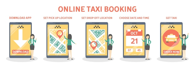 Taxi booking online step by step guide. order car in mobile phone app. idea of transportation and internet connection.