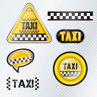 Taxi cab set symbols with silver background
