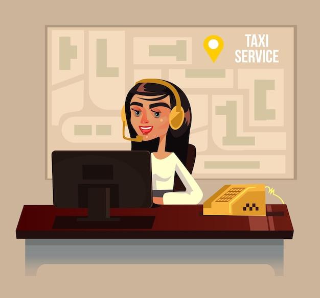 Такси колл-центр офис женщина персонаж плоский мультфильм иллюстрации