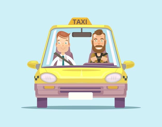 승객 평면 일러스트와 함께 택시 자동차와 택시 운전사