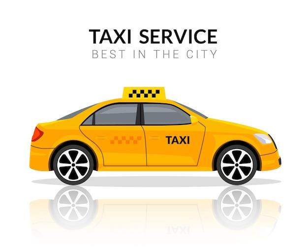 택시 자동차 앱 택시 평면 노란색 벡터 자동차 아이콘입니다. 택시 여행 택시 디자인 서비스.
