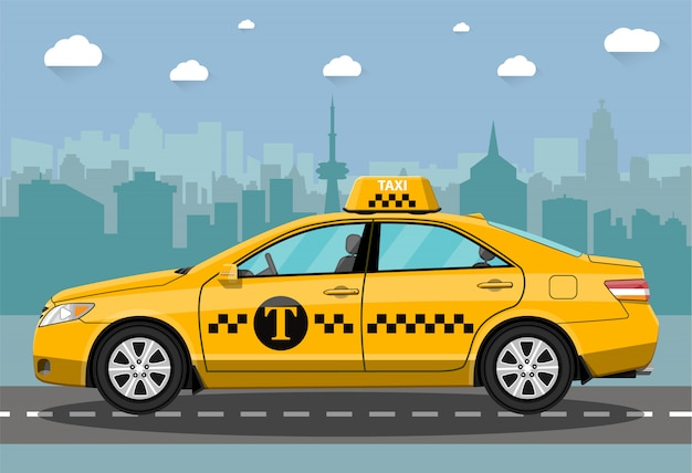 Taxi car on city background