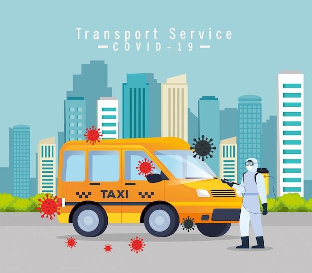 Служба дезинфекции автомобилей такси, профилактика коронавируса cvid 19, чистые поверхности в машине с дезинфицирующим аэрозолем, человек с дизайном иллюстрации костюма биологической опасности