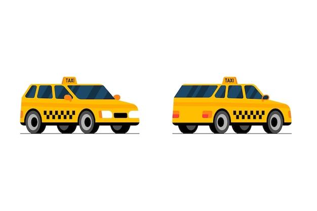 택시 자동차 전면 및 후면 투시도 노란색 택시 도시 서비스 전송 설정 평면 벡터