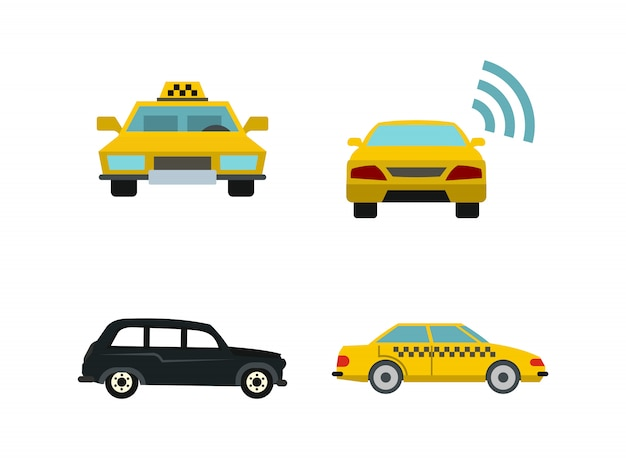 Taxi car icon set. flat set of taxi car vector icons collection isolated