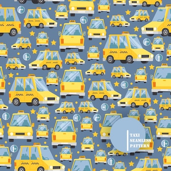 Taxi car icons in seamless pattern,  illustration. yellow cab in cartoon style, many vehicles in different angles, taxi service background.