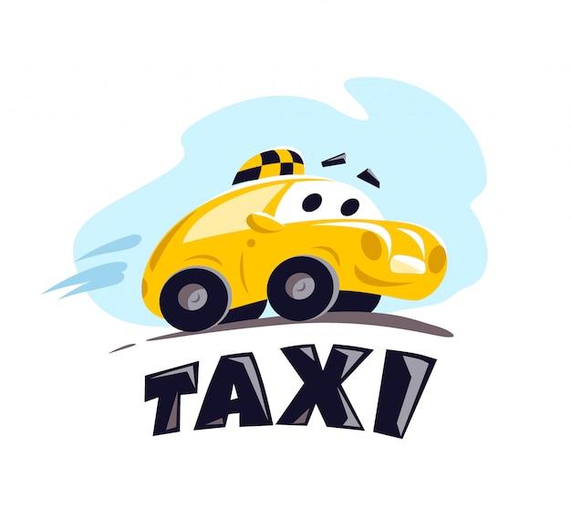 白い背景の上のタクシー車のイラスト。漫画のスタイル。面白いかわいい運転車。タクシーサービスのロゴのテンプレート。