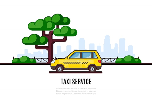 Taxi car parking along the city street. taxi service flat style concept banner.