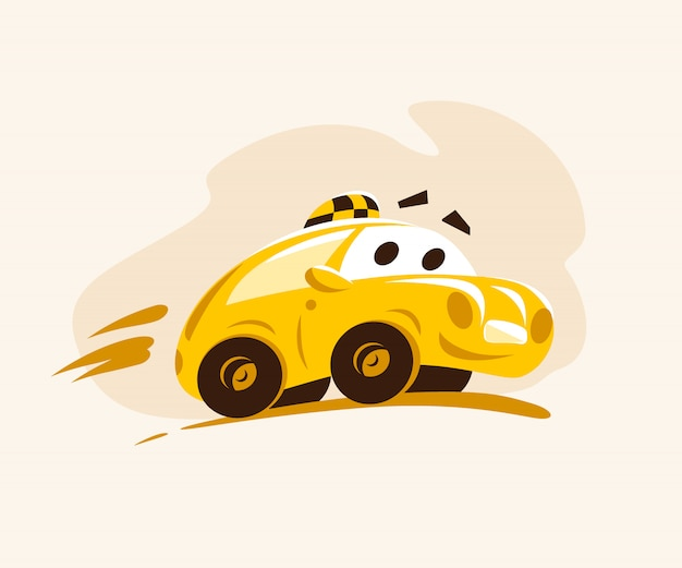 Taxi car riding across the city. cartoon style illustration. funny character. taxi service logo. good for advertising, business card, poster, placard.