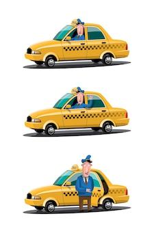 Taxi car service set