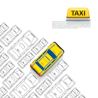 Taxi car signboard on the white background. vector illustration