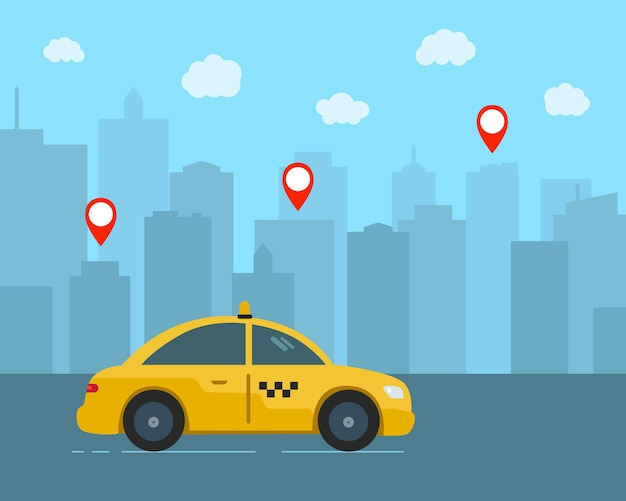 택시 자동차, 백그라운드에서 고층 빌딩입니다. 플랫 자동차 벡터 집합입니다.