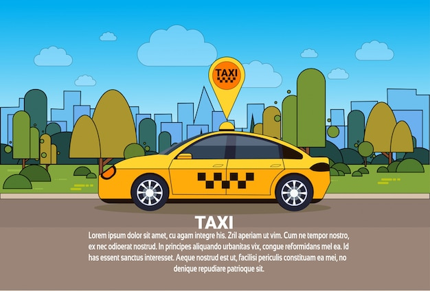 Taxi car with gps location sign on order route online cab service concept