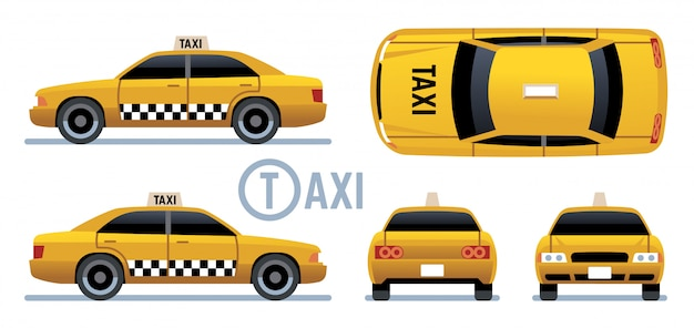 Taxi car. yellow cab view from side, front, back and top. cartoon city taxi  set