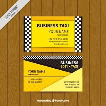 Taxi card in yellow color