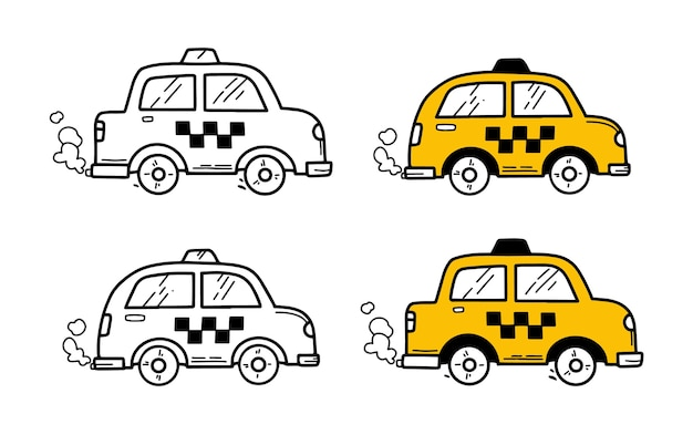 落書き手描きスタイルのタクシー車