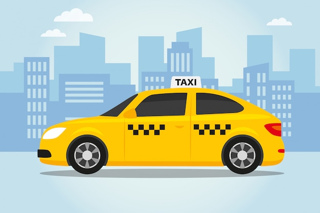 Taxi on the city