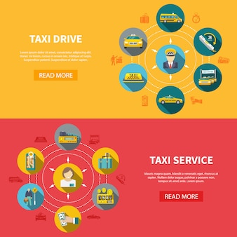 Taxi company horizontal banners