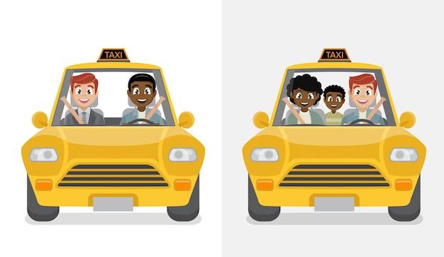 Водитель такси и пассажир.