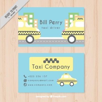 Taxi driver card in pastel colors