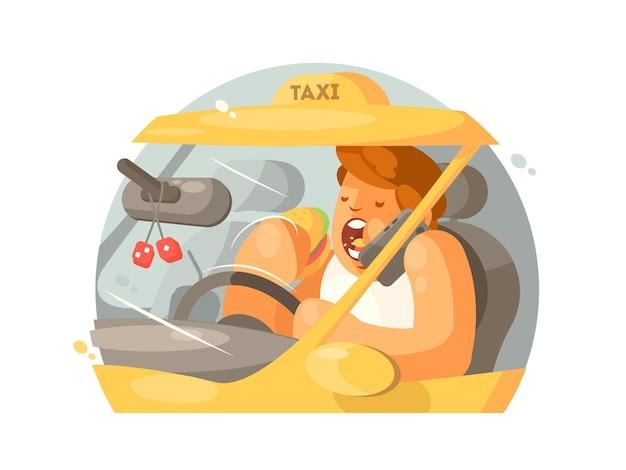 タクシー運転手運転。電話で話し、ハンバーガーを食べる。図